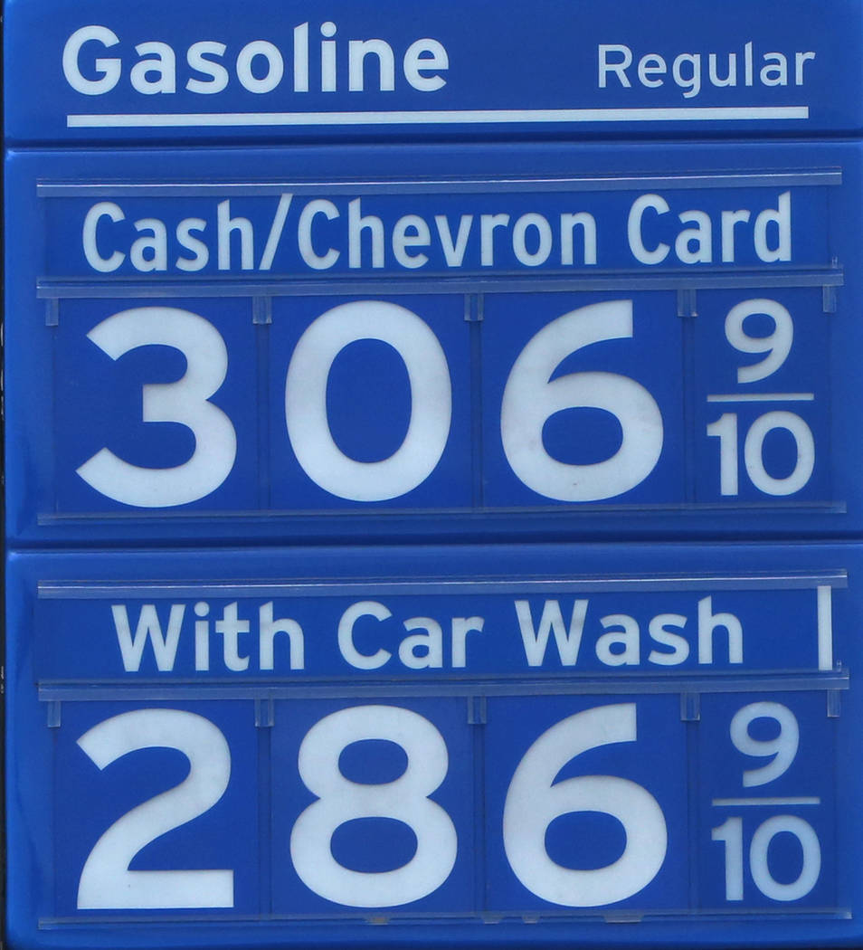 Gas prices are posted at Chevron gas station at the intersection of Tropical Avenue and Fort Apache Road on Monday, April 2, 2018, in Las Vegas. (Bizuayehu Tesfaye/Las Vegas Review-Journal) @bizut ...