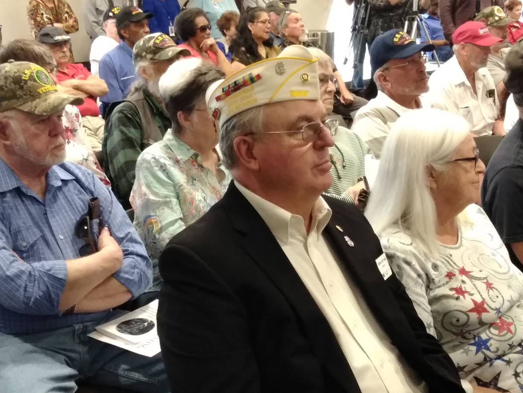 """Selwyn Harris/Pahrump Valley Times Pahrump Veteran Bill Dolan, in sport coat, along with wife Marilyn, listen to speakers at March 29th's Vietnam Veteran """"Welcome Home"""" ceremony. Prior to the serv ..."""