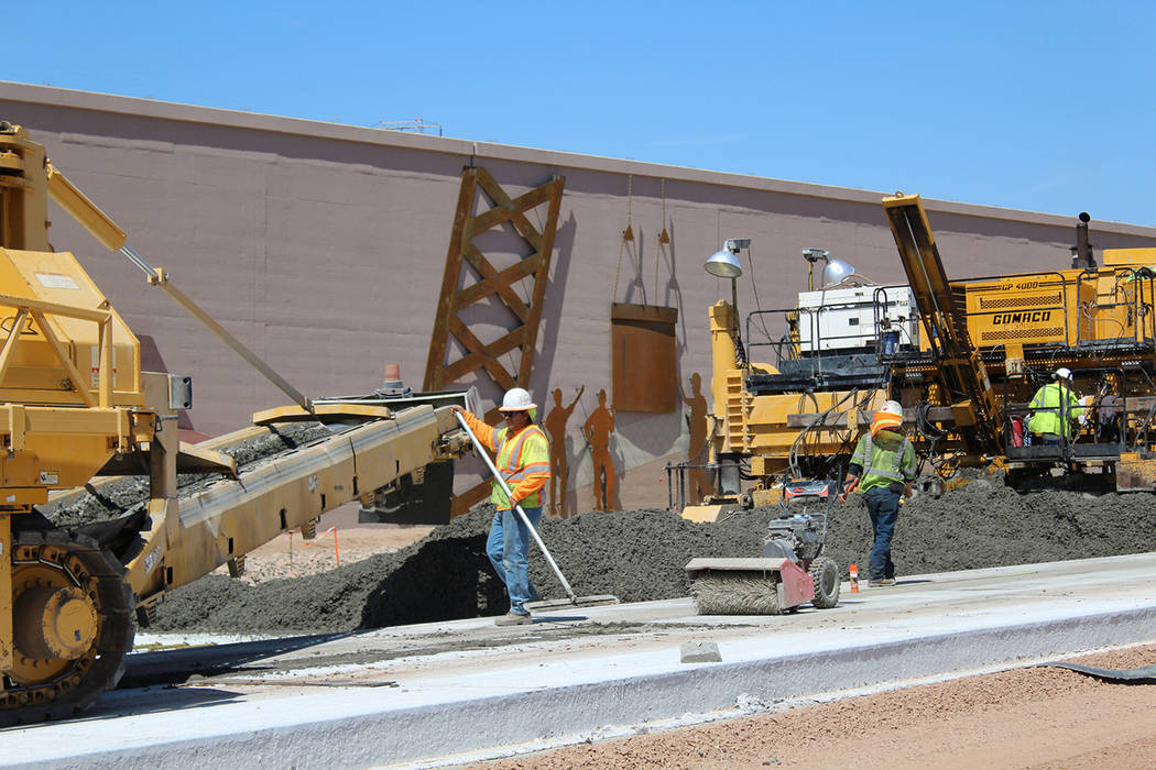 Nevada Department of Transportation This 2017 photo shows construction continuing on Interstate 11 near Boulder City as another segment was being prepared to open to the public. Efforts are underw ...