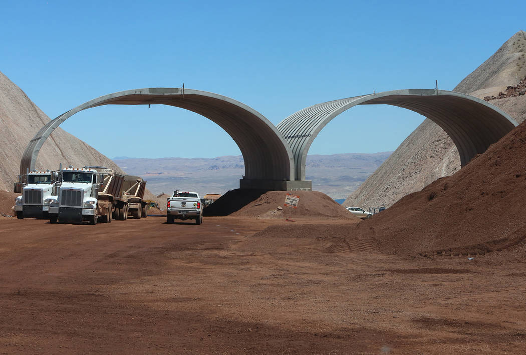 Bizuayehu Tesfaye/Las Vegas Review-Journal  The new dedicated desert bighorn sheep overpass on the construction site of I-11, near Lake Mead on Friday, May 19, 2017, in Boulder City. Construction  ...