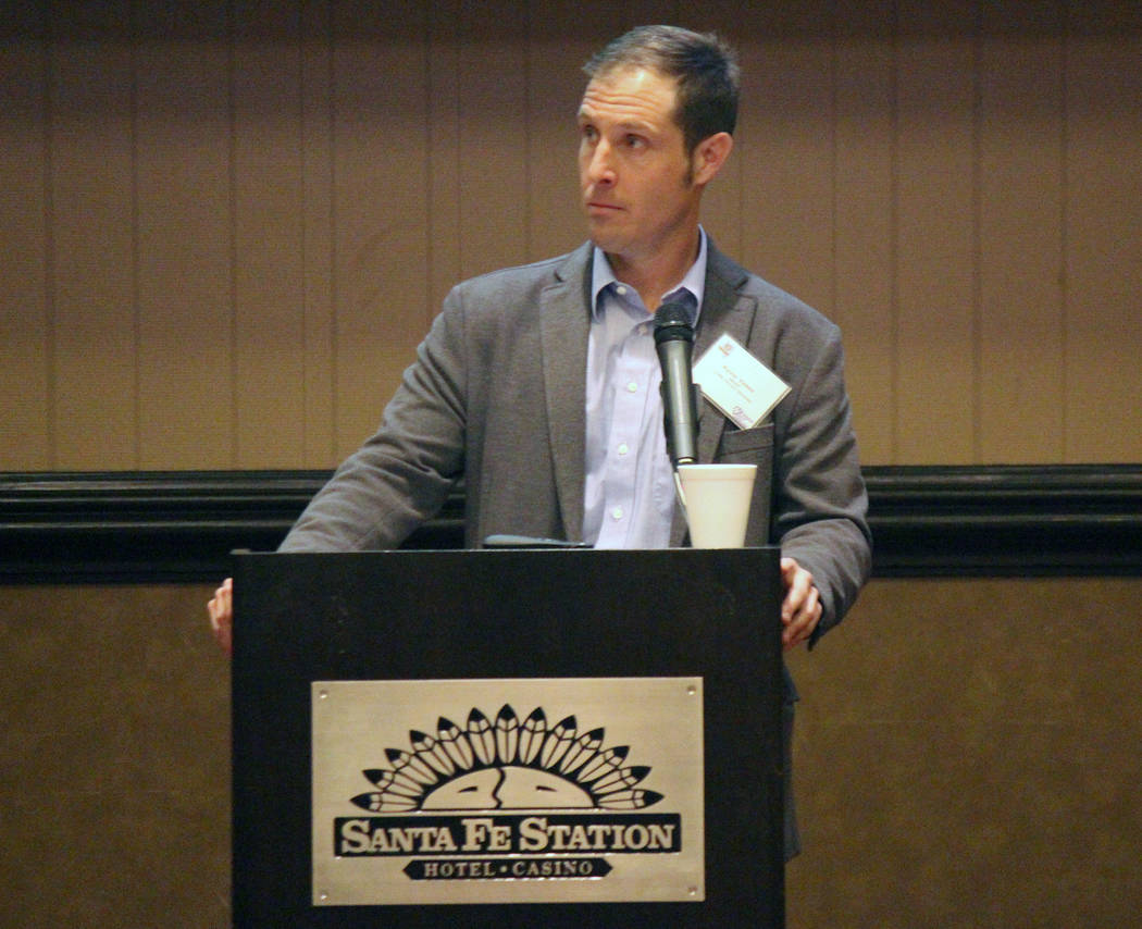 Jeffrey Meehan/Times-Bonanza & Goldfield News Transportation planning analyst Kevin Verre from the Nevada Department of Transportation speaks about the future of Interstate 11 and its path from La ...