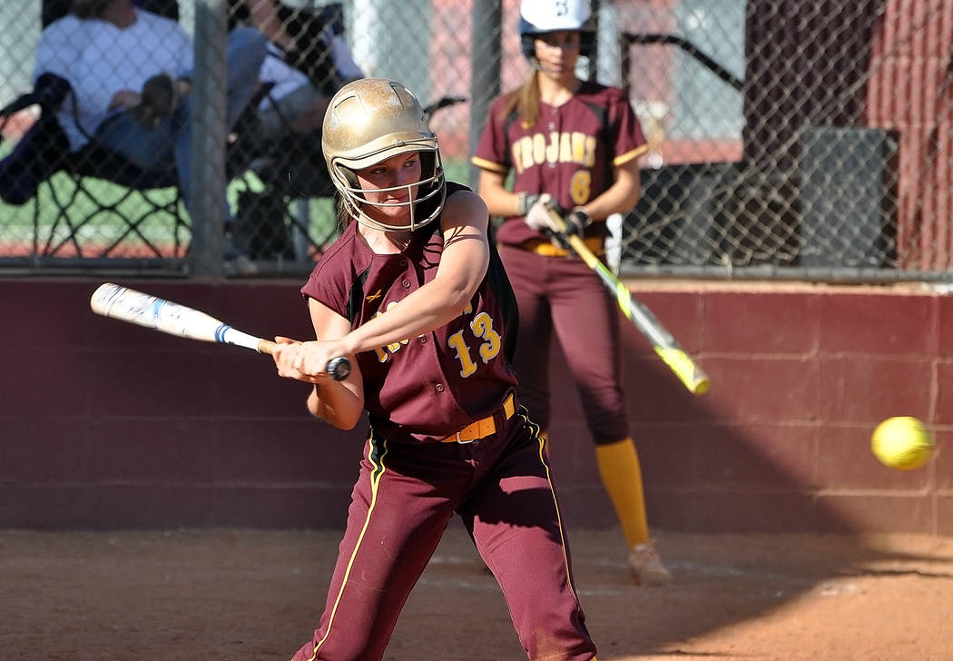 Horace Langford Jr./Pahrump Valley Times Jackie Stobbe keeps her eye on the ball Tuesday during Pahrump Valley's 3-1 home loss to Boulder City.