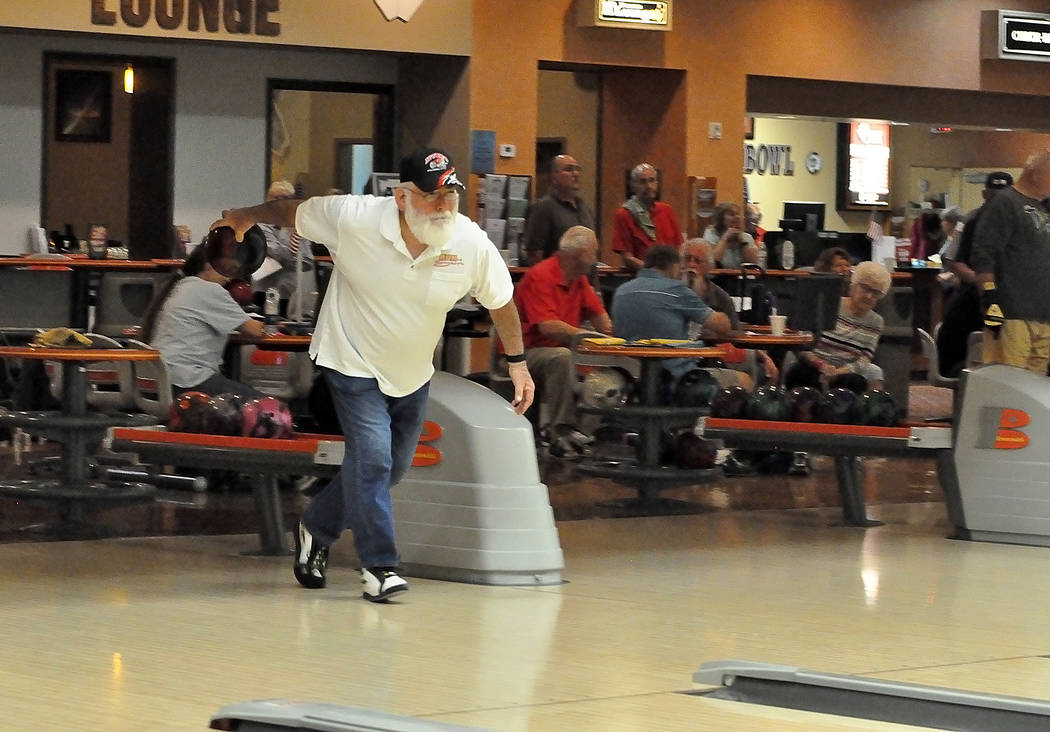 Horace Langford Jr./Pahrump Valley Times Frank Medina joined the 300 club March 27, rolling his first sanctioned perfect game on his 71st birthday at the Pahrump Nugget Bowling Center.