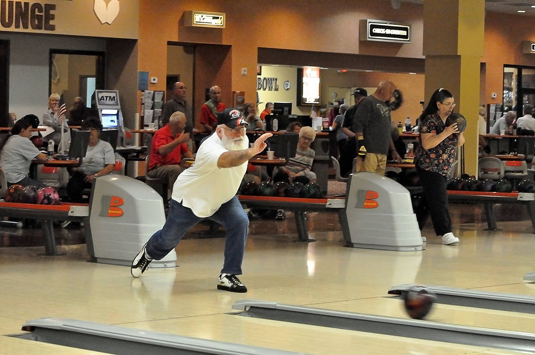 Horace Langford Jr./Pahrump Valley Times Pahrump retiree Frank Medina lets one fly Wednesday during league bowling at the Pahrump Nugget Bowling Center.