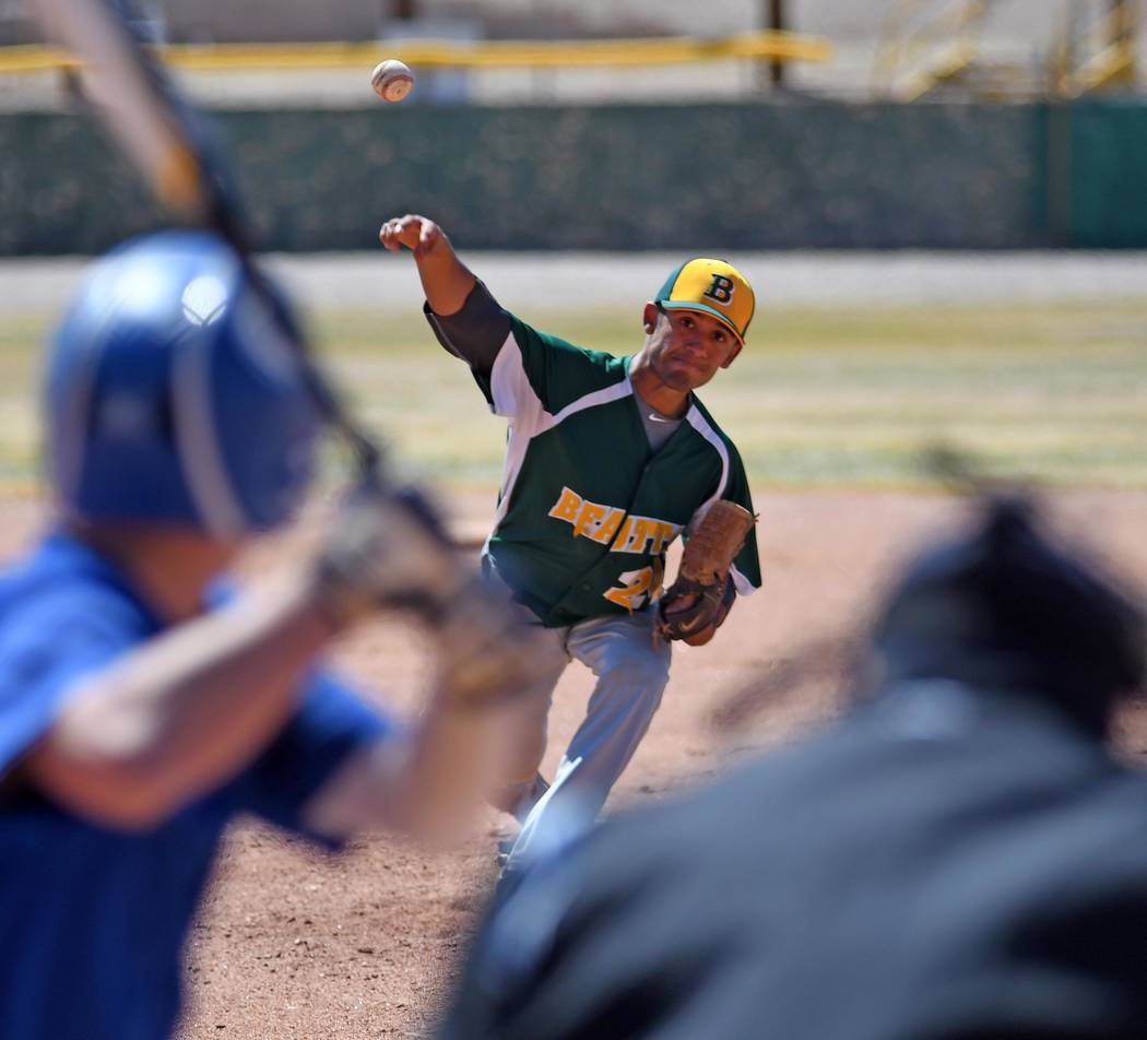 Richard Stephens/Special to the Pahrump Valley Times Beatty's Armando Gonzalez delivers a pitch against Pahranagat Valley during a March 27 game in Beatty.