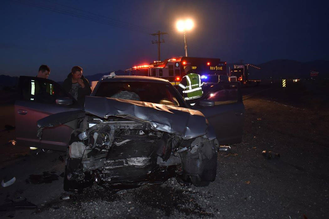 Special to the Pahrump Valley Times One person was taken into custody on a DUI charge, while another was transported to Desert View Hospital, after a two car collision at the intersection of Barne ...