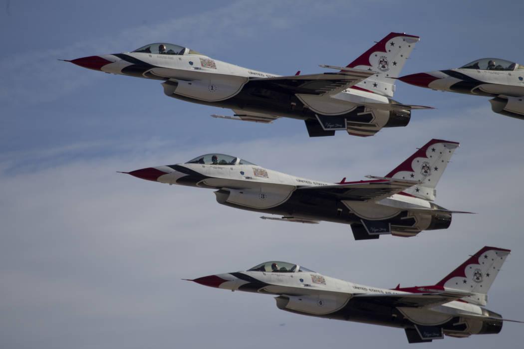 Erik Verduzco Las Vegas Review-Journal  The Thunderbirds perform during Aviation Nation at Nellis Air Force Base in Las Vegas, Saturday, Nov. 11, 2017. Maj. Stephen Del Bagno died when his F-16 Fi ...