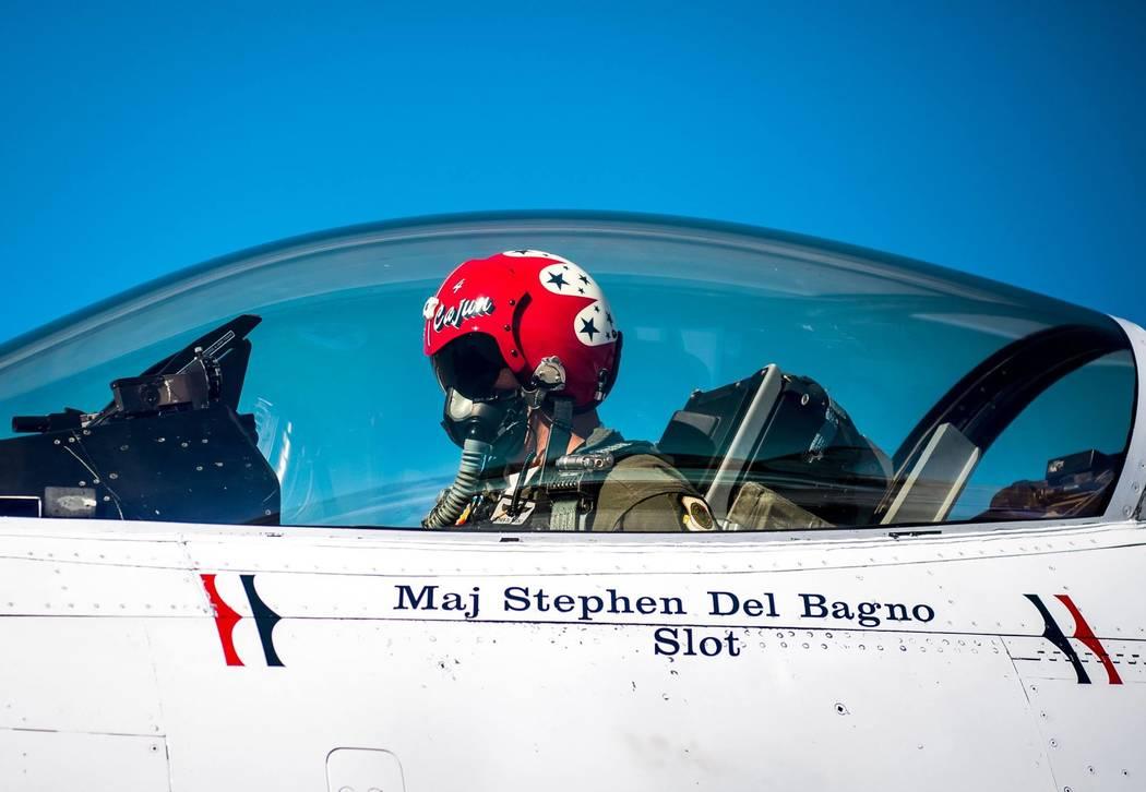 Air Force Photo by Master Sgt. Christopher Boitz Maj. Stephen Del Bagno, Thunderbird 4/Slot Pilot, preforms preflight checks in his F-16 Fighting Falcon at Nellis Air Force Base, Nev., Jan. 26, 20 ...