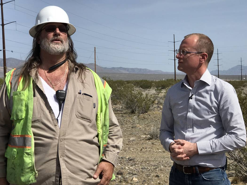 Jeffrey Meehan/Pahrump Valley Times Federal Communications Commissioner Brendan Carr stands in the Winery area in Pahrump on April 9, 2018. Carr spent the day with executives from Valley Electric  ...