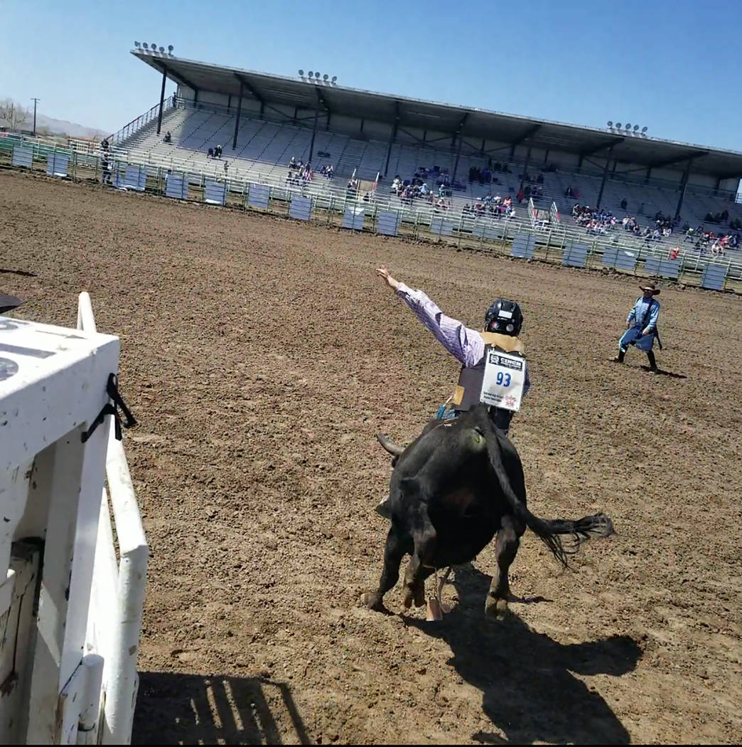 Buddy Krebs/Special to the Pahrump Valley Times Eighth-grader Randy Witte was the youngest member of the foursome representing Pahrump Valley at the Nevada High School Rodeo Association event Apri ...