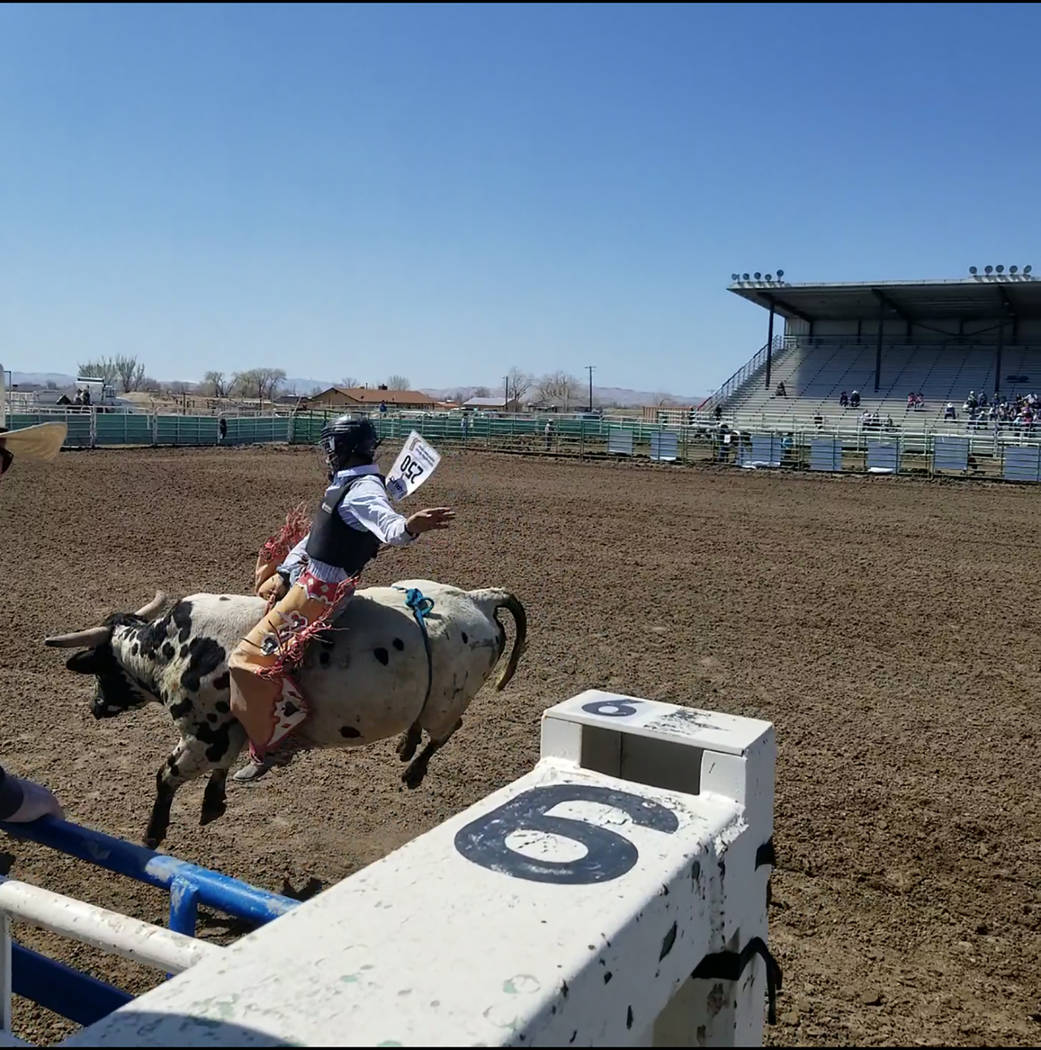 Buddy Krebs/Special to the Pahrump Valley Times Pahrump Valley junior Tye Hardy was the only competitor to ride his bull successfully over the weekend at the Nevada High School Rodeo Association e ...