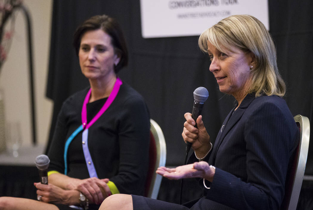 """Chase Stevens/Las Vegas Review-Journal  Nevada Secretary of State Barbara Cegavske, right, speaks alongside U.S. Rep. Mimi Walters, R-Calif., as part of the """"Women2Women Conversations"""" tour at the ..."""