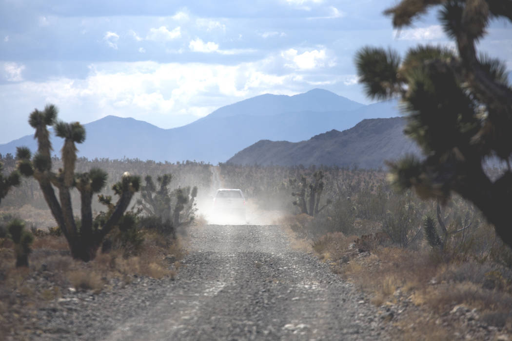 A U.S. Fish & Wildlife Service pickup travels south in the Desert National Wildlife Refuge on Friday, Sept. 30, 2016. (Las Vegas Review-Journal)