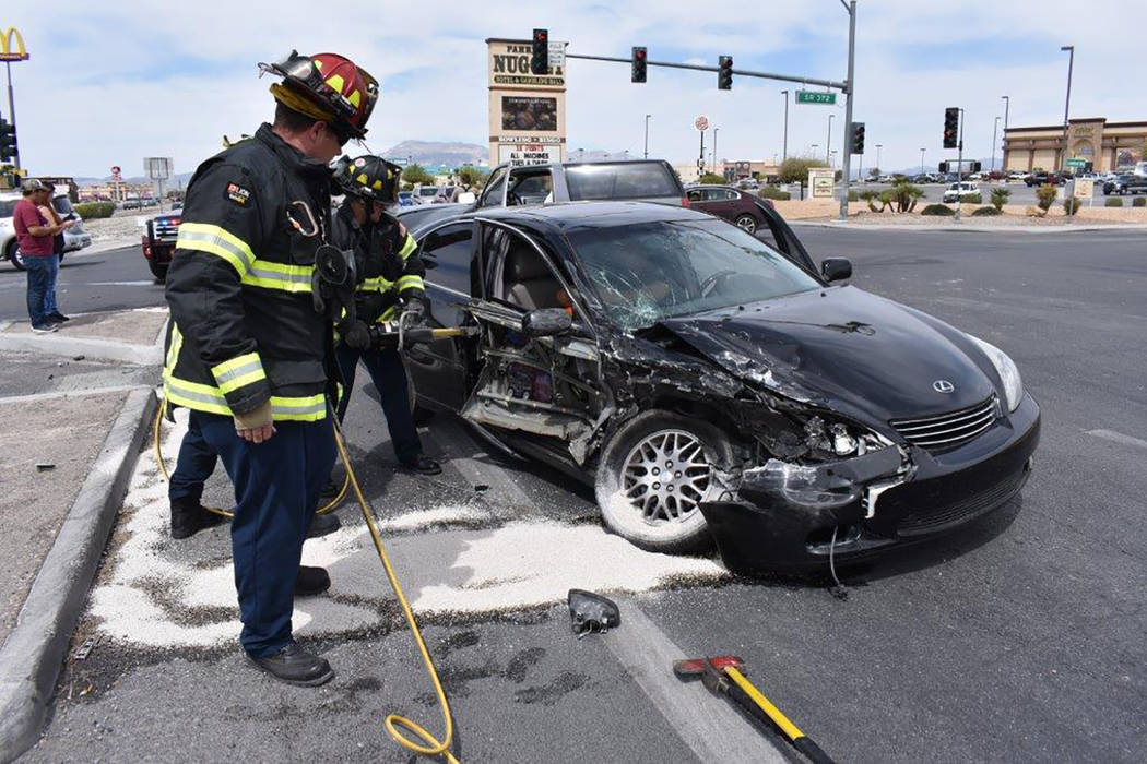 Special to the Pahrump Valley Times A T-bone type crash blocked off the southbound lanes of Highway 160 as fire crews rendered aid to at least two  occupants last Wednesday afternoon. One person w ...