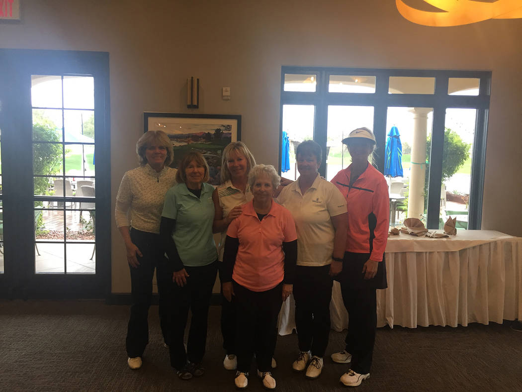 Special to the Pahrump Valley Times From left, Jackie Dobbins, Joyce Jarammillo, Julie Floyd, Barbara Kelley, Terri Bennett and Angela Parker pose after the third annual Mountain Falls Ladies Club ...