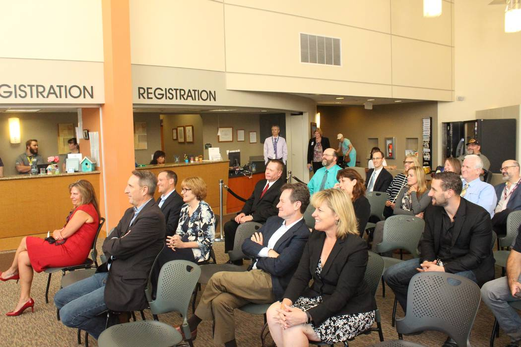 Jeffrey Meehan/Pahrump Valley Times Executives from Desert View Hospital were joined by representatives of Switch, Nevada Hospital Association and others to announce the hospital's new fiber-opti ...