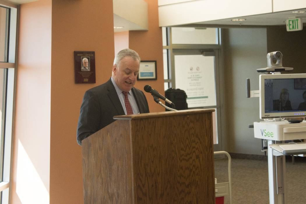 Jeffrey Meehan/Pahrump Valley Times CEO of Summerlin Hospital Medical Center and Nevada Hospital Association Chairman Robert Freymuller speaks at Desert View Hospital on Sept. 18, 2017 to announc ...