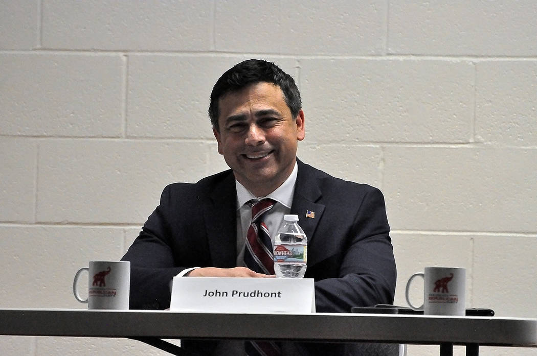 Horace Langford Jr./Pahrump Valley Times - Republican Nye County Treasurer candidate John Prudhont attending the Nye County GOP Debate on April 6.