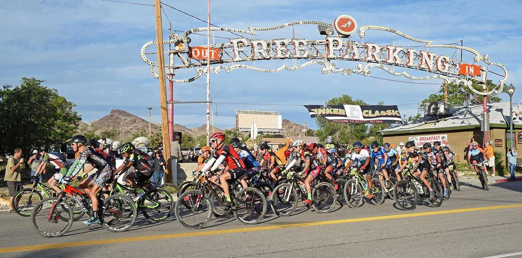 Richard Stephens/Special to the Pahrump Valley Times The sign is shown in this 2017 photo from a mountain bike event last year. The starting line was under the sign, which was blown to the ground ...