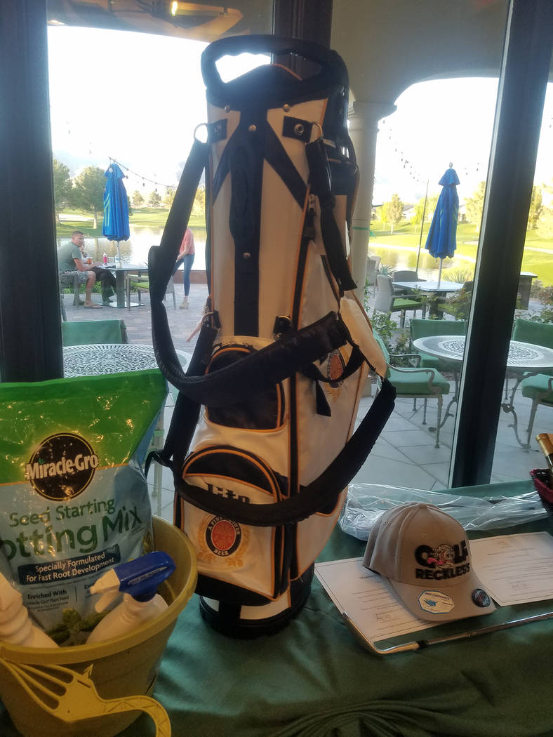 David Jacobs/Pahrump Valley Times A golf bag awarded at the Quarter Auction is displayed at Mountain Falls. It was one of the items available to win that night.