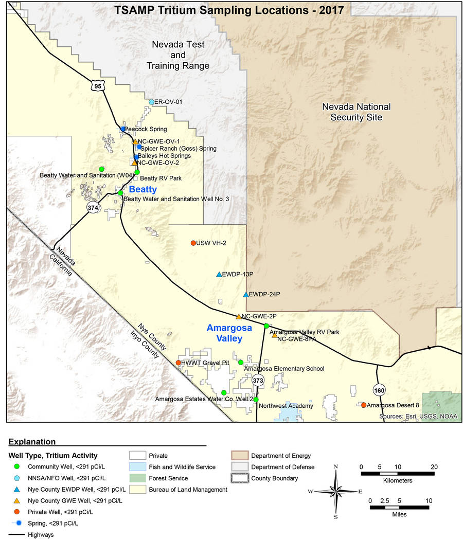 Special to the Pahrump Valley Times The map shown was provided by Nye County and shows the locations of the tritium sampling done in October and November, 2017. All test results came back showing ...
