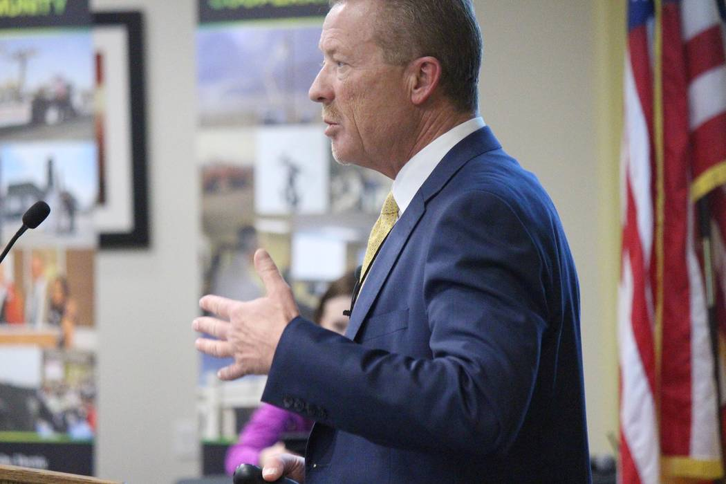 Jeffrey Meehan/Pahrump Valley Times Thomas Husted, CEO of Valley Electric Association speaks earlier this year at the cooperative's District 1 meeting on the health of the organization and plans f ...