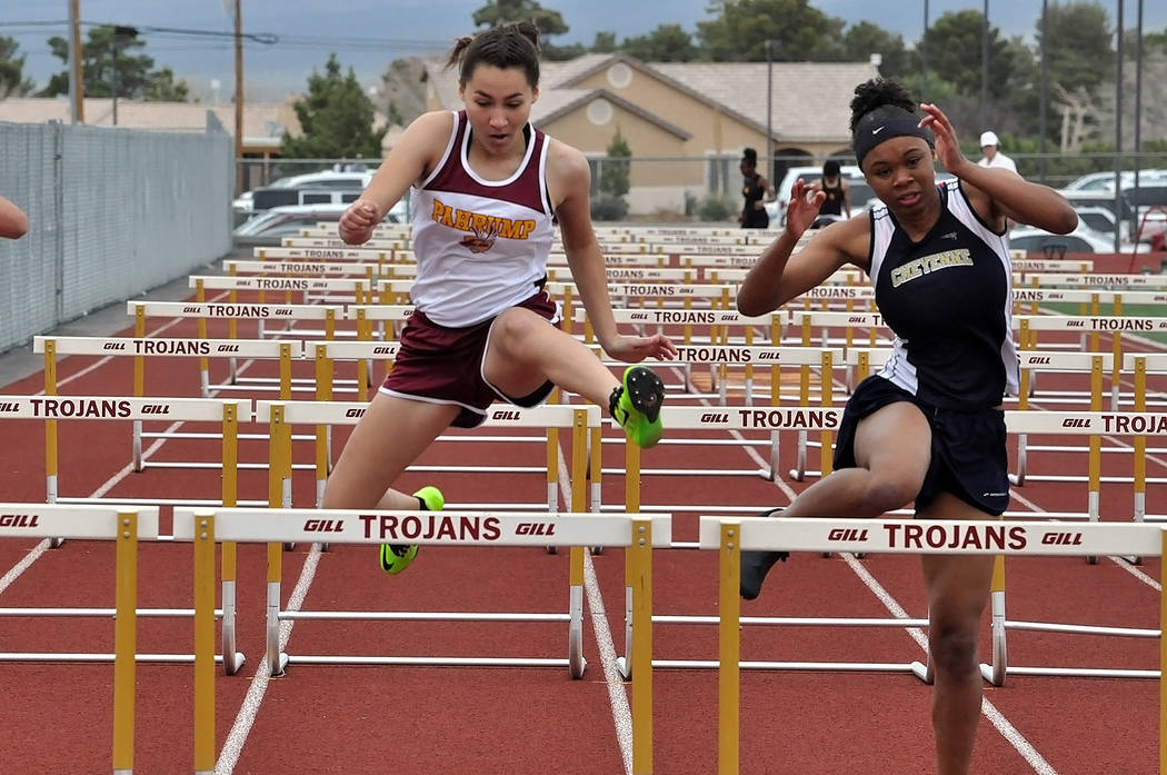 Horace Langford Jr./Pahrump Valley Times The Pahrump Valley boys and girls track teams had tight battles with Boulder City during last week's weekday meet at Western High School in Las Vegas.