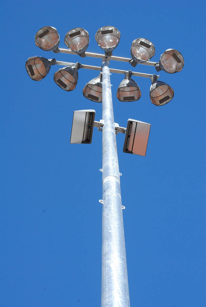 Charlotte Uyeno/Pahrump Valley Times This view of one of the 10 new light towers at Ian Deutch Memorial Park shows not only the field lights but the LED lights installed to light parking areas at ...