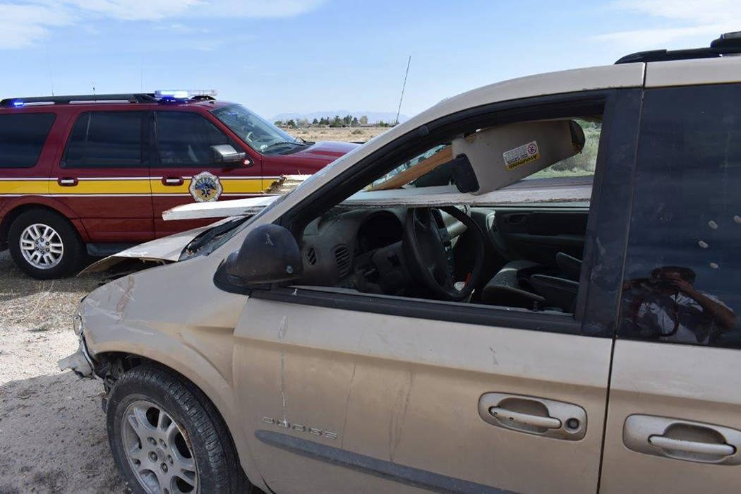 Special to the Pahrump Valley Times A driver somehow received non-life threatening injuries after plowing through a fenced residence Wednesday afternoon April 11. The single-vehicle crash occurred ...