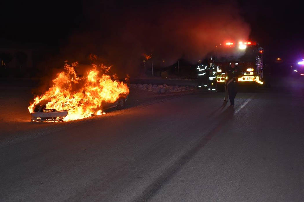 Special to the Pahrump Valley Times Fire crews were dispatched to the 1000 block of East Deerskin Street for a suspicious vehicle fire at 8:23 p.m on Tuesday April 10. Pahrump Fire Chief Scott Lew ...