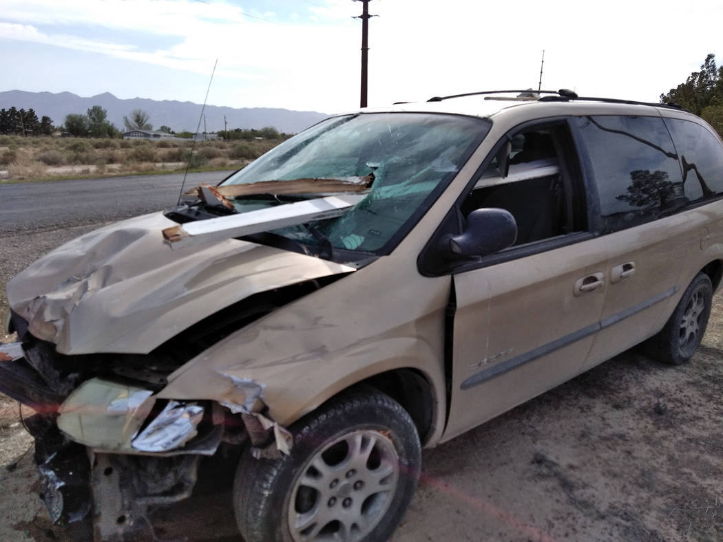 Special to the Pahrump Valley Times A section of lumber pierced the driver-side windshield of the passenger van, nearly impaling the driver's head. The man was located outside of the vehicle and a ...