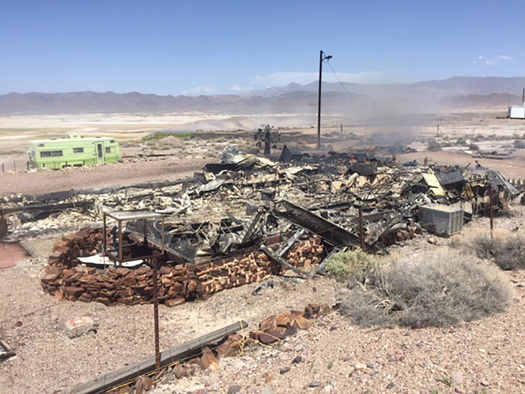 Special to the Pahrump Valley Times On Monday April 16, Pahrump fire crews responded to a structure fire with the Inyo Fire Protection District, in Tecopa Hot Springs. Pahrump Fire Chief Scott Le ...