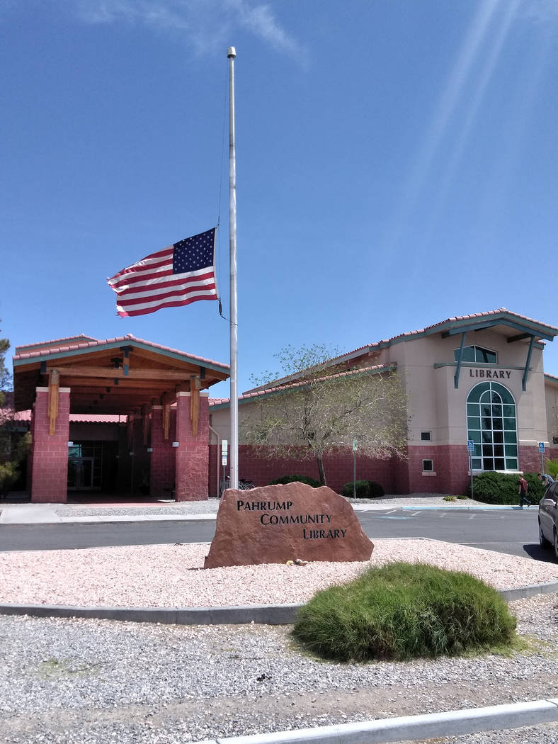 Selwyn Harris/Pahrump Valley Times The Pahrump Community Library is one of several locations in Pahrump to pay their respects to former First Lady Barbara Bush who died at the age of 92 on Tuesday.