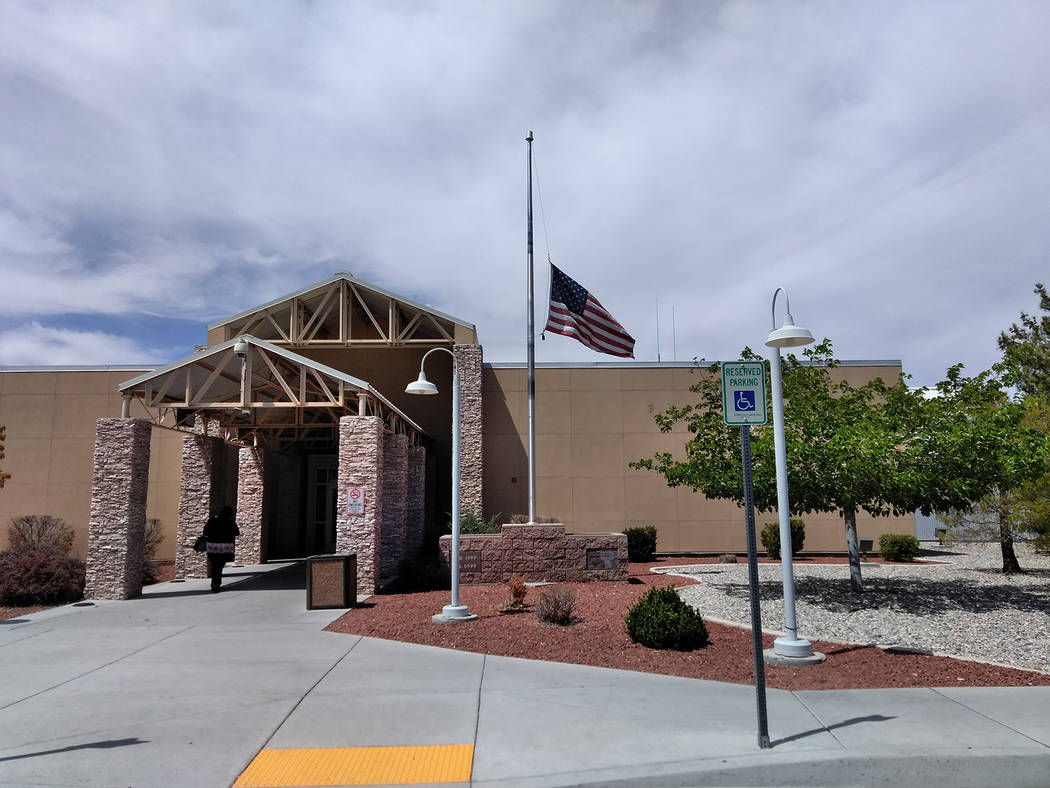 Selwyn Harris/Pahrump Valley Times The flag flies at half-staff at the Nye County Government Complex on Wednesday for Barbara Bush, who as the wife of the 41st president, George Herbert Walker Bus ...