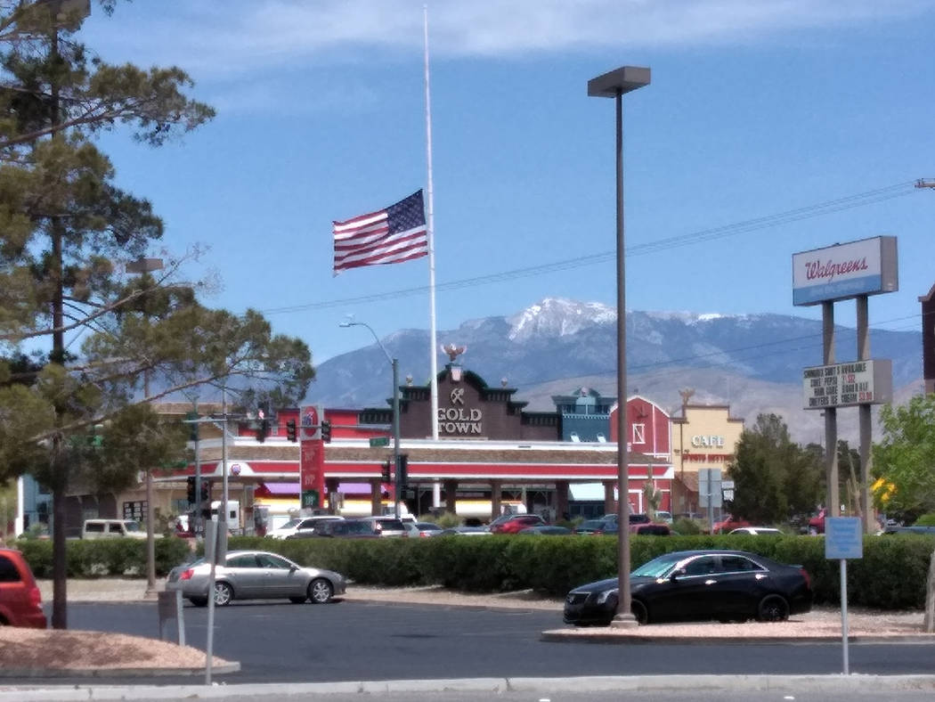 Selwyn Harris/Pahrump Valley Times The flag above Gold Town Casino along Highway 160 was lowered to half-staff in remembrance of Barbara Bush's passing this week. Former Senate Majority Leader Har ...