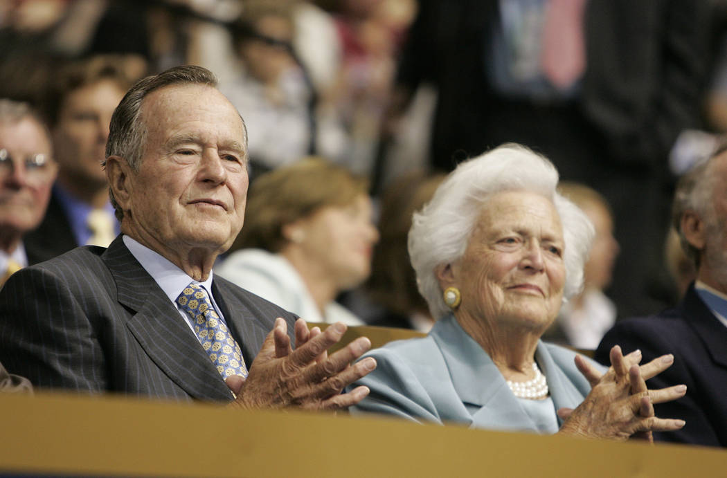 John Locher/Las Vegas Review-Journal This 2008 photo shows Former President George H.W. Bush, left, and his wife Barbara Bush at the second day of the Republican National Convention at the Xcel En ...