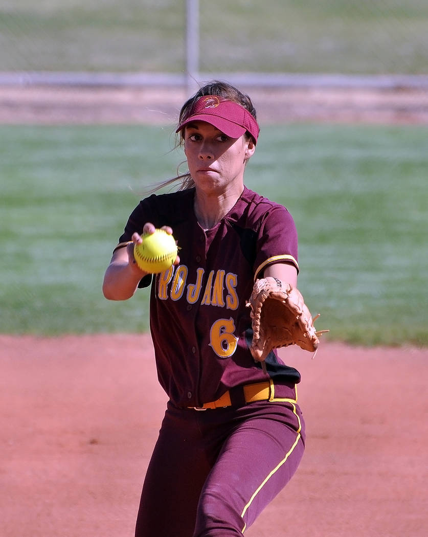 Horace Langford Jr./Pahrump Valley Times Senior pitcher Amaya Mendoza has her game face on as she delivers a pitch against Western. The Trojans won the Sunset League game 17-5.