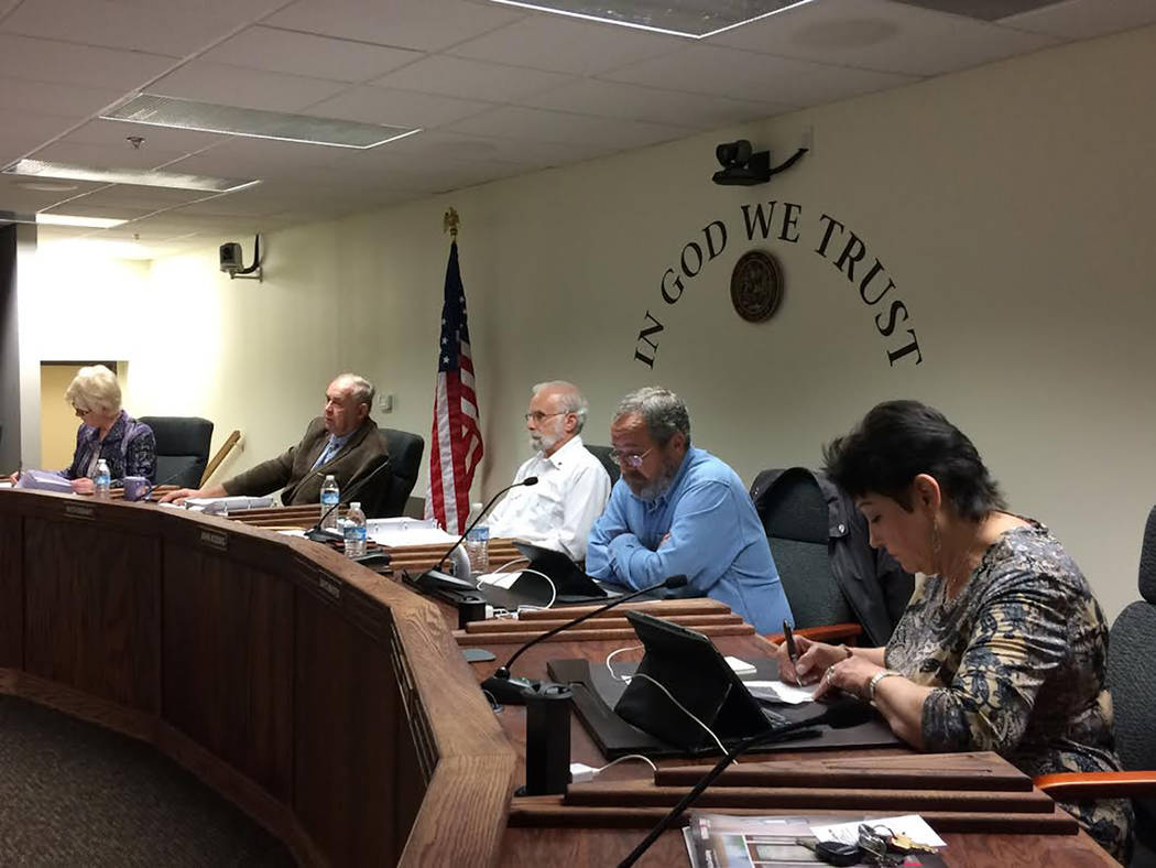 Robin Hebrock/Pahrump Valley Times Nye County Commissioners, from right to left, are Donna Cox, Dan Schinhofen, John Koenig, Butch Borasky and Lorinda Wichman. The commission voted 3-2 to approve ...