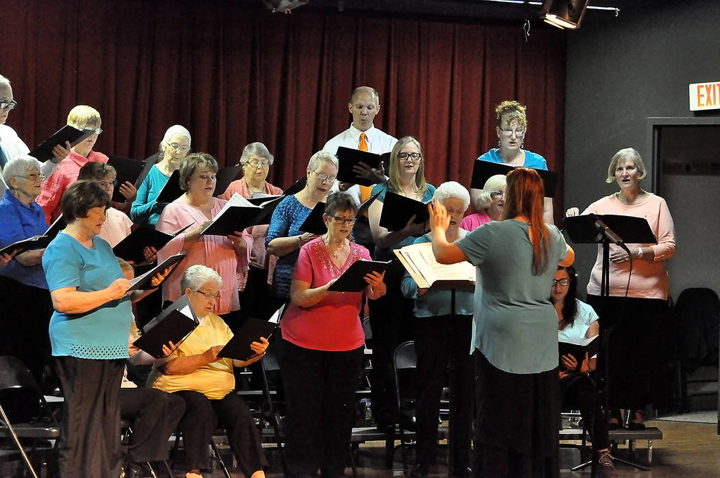 Horace Langford Jr./Pahrump Valley Times The High Desert Chorale is shown performing on April 12 in Pahrump Valley High School. The group is under the direction of Ginger Forbes.