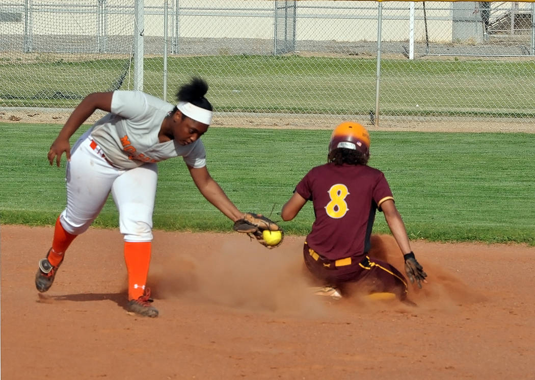 Horace Langford Jr./Pahrump Valley Times Pahrump Valley's Ashleigh Murphy slides safely into second base ahead of the tag during an April 9 home game against Mojave.