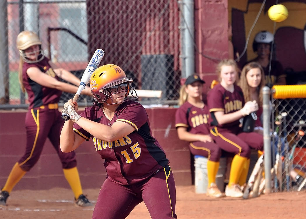 Horace Langford Jr./Pahrump Valley Times Taylor Egan keeps her eye on the ball during Pahrump Valley's 14-0 win over Mojave on April 9 in Pahrump.