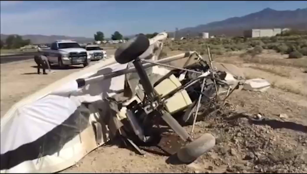 Screenshot/Nye County Sheriff's Office video An aircraft that falls under the light-sport aircraft category by the Federal Aviation Administration crashed for unknown reasons at Calvada Meadows Ai ...