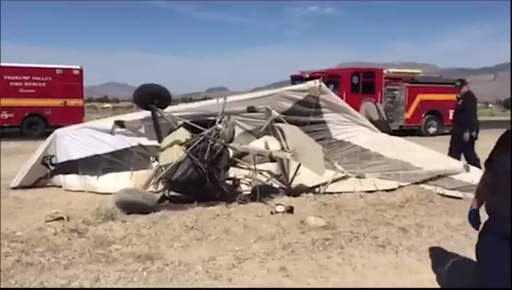 Screenshot/Nye County Sheriff's Office video Deputies from the Nye County Sheriff's Office responded to a call about an airplane crash at 9 a.m. Wednesday. A spokesman for the Federal Aviation Adm ...