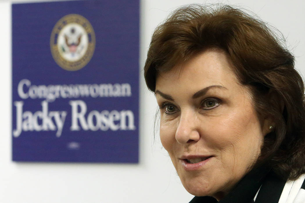 Bizuayehu Tesfaye/Las Vegas Review-Journal U.S. Rep. Jacky Rosen, D-Nevada, the bill's sponsor, said the legislation would direct the Office of Management and Budget to conduct a study on altern ...