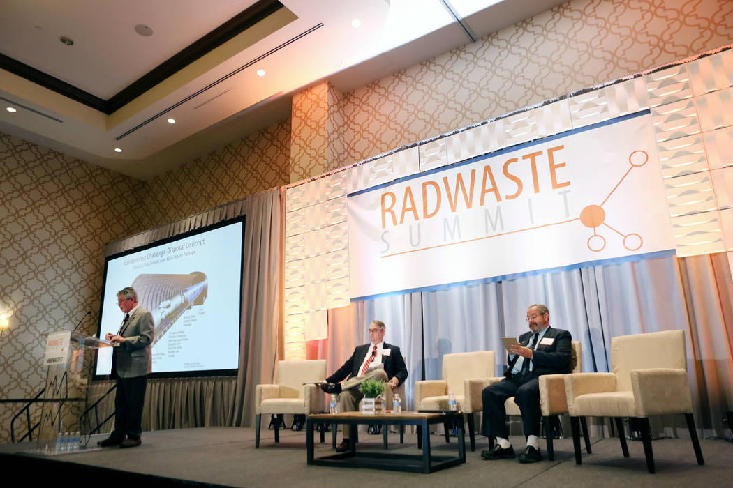 Elizabeth Brumley/Las Vegas Review-Journal The executive director of the Agency for Nuclear Projects Robert J. Halstead speaks during a debate on restarting the Yucca Mountain Project at the JW Ma ...