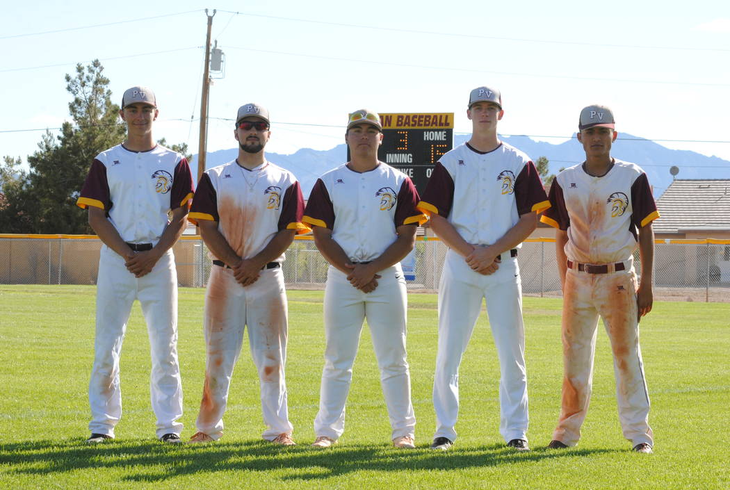 Charlotte Uyeno/Pahrump Valley Times From left, Pahrump Valley seniors Garrett Lucas, Anthony Charles, Ian MacRae, Brian Horton and Bradda Costa after the Senior Day game May 3 against Sunrise Mou ...