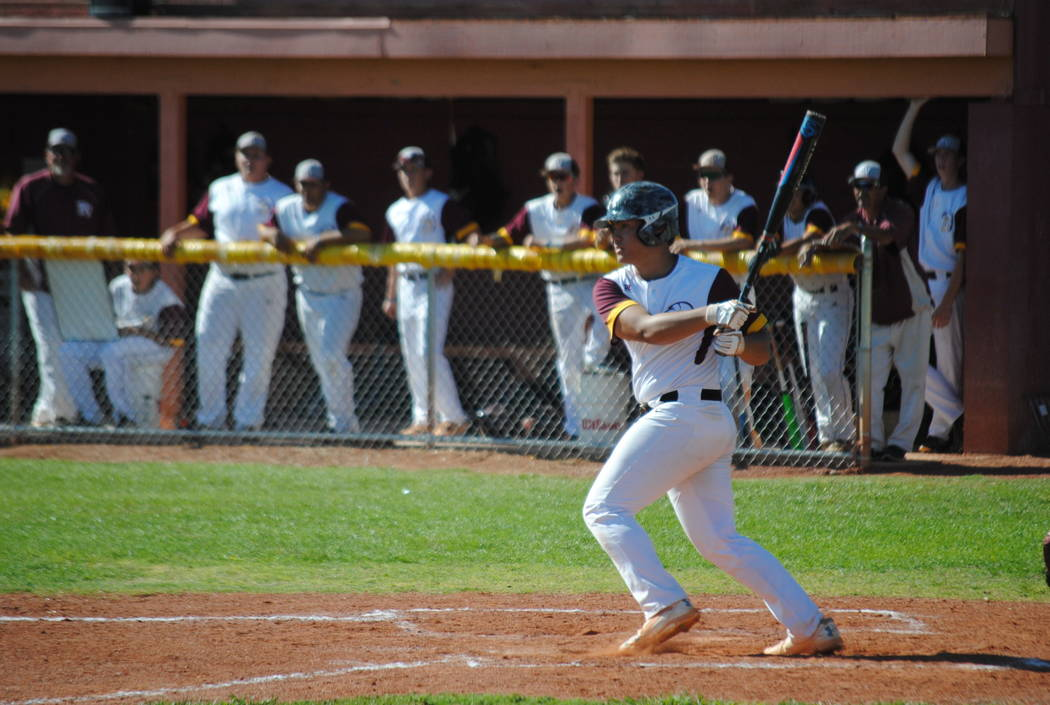 Charlotte Uyeno/Pahrump Valley Times Pahrump Valley senior Ian MacRae connects for the game-ending RBI single in the third inning of a 15-0 Senior Day win over Sunrise Mountain on May 3 in Pahrump.