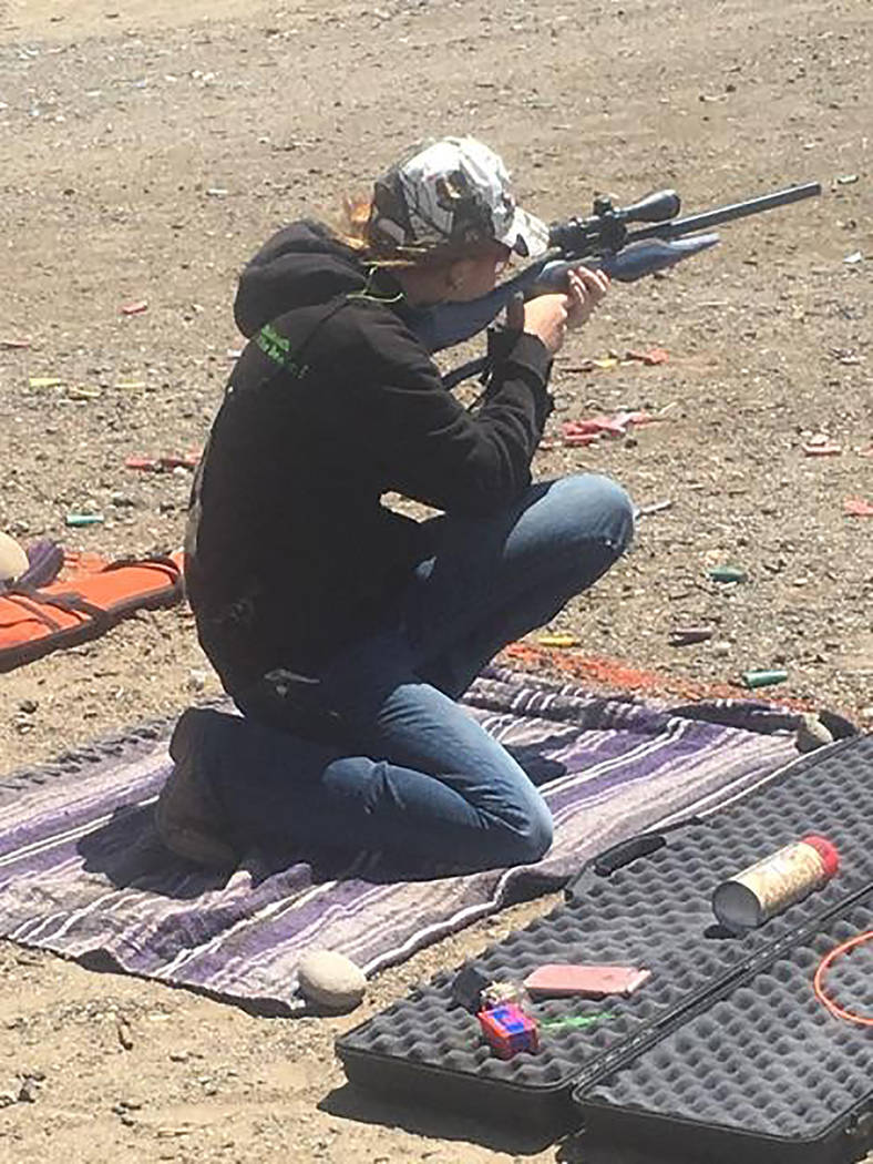 Buddy Krebs/Special to the Pahrump Valley Times Pahrump's Raelean Sutton finished sixth in trap shooting and ninth in rifle at the Nevada State High School Rodeo Association's Lincoln County rodeo ...