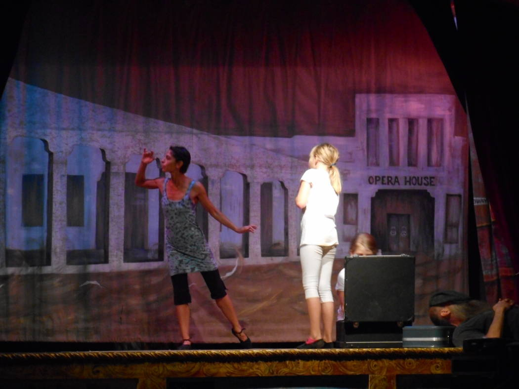 Robin Flinchum/Special to the Pahrump Valley Times Jenna McClintock, Samuel Fann, and Madison Messer on Marta Becket's Amargosa Opera House stage, practicing for the upcoming show. Taken by Robin ...