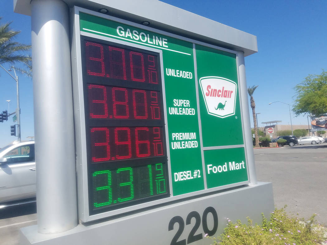 David Jacobs.Pahrump Valley Times Premium has nears $4 a gallon as shown in an April 29 photo in Las Vegas. Prices in Pahrump as of Monday ranged from $2.87 to $2.93 for unleaded regular.